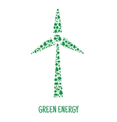 Wind turbine symbol made up of green trees vector image vector image