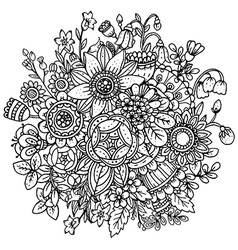 Beautiful monochrome floral pattern vector image