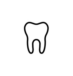 line tooth icon on white background vector image vector image
