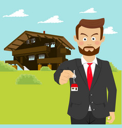Realtor showing house key in front of house vector