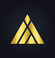 triangle construction abstract shape gold logo vector image