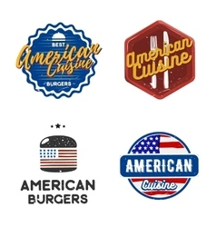 Creative set of american cuisine logo design vector image