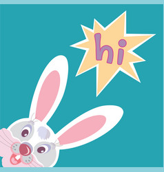 funny smiling bunny greeting card vector image