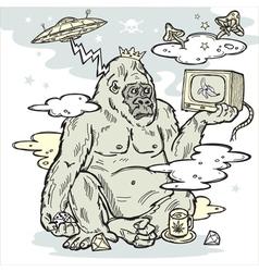 gorilla in the mist vector image vector image