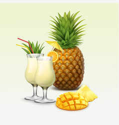 tropical cocktails and fruits vector image vector image