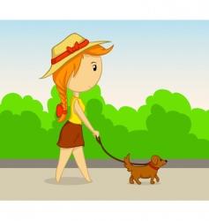 vector cartoon girl with dog vector image vector image