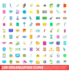 100 organisation icons set cartoon style vector