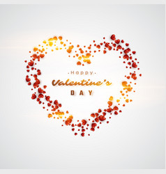 3d realistic red hearts background vector image
