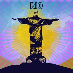 abstract rio design in outlines with statue over vector image