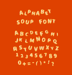 Alphabet soup font letters on red vector