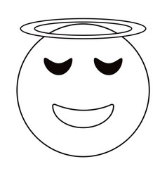 angel emoticon style thin line vector image