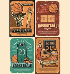 Basketball sport court players balls and basket vector