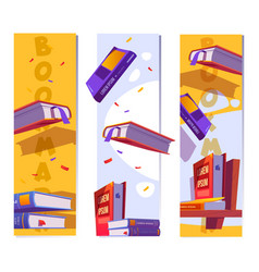 Bookmarks or banners template with books vector