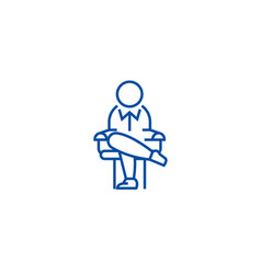boss sitting on chair line icon concept boss vector image