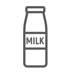bottle of milk line icon drink and food vector image