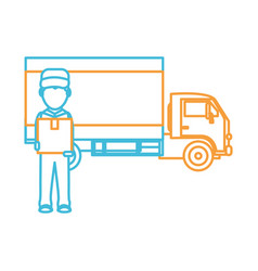 box truck and man design vector image