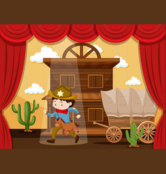 boy playing cowboy on stage vector image