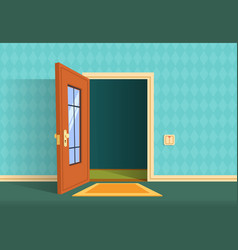 Cartoon open door apartment hallway entrance vector