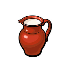 clay pot jug full of cow goat sheep milk vector image
