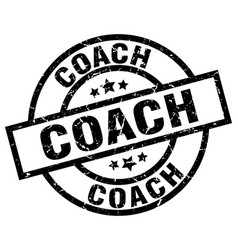 Coach round grunge black stamp vector