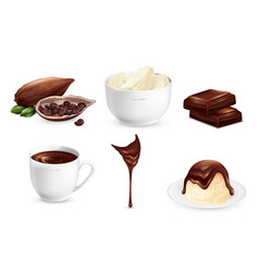 Cocoa products set vector