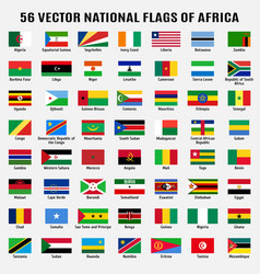 Collection 56 national flags africa vector