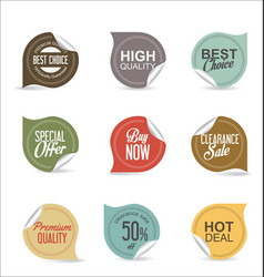 collection of paper sale stickers 2 vector image