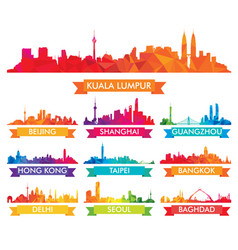 colorful skyline of asian cities vector image