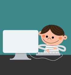 Computer kid vector