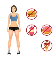 Concept with fit young woman in sportswear Useful vector