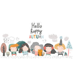 cute children meeting autumn wearing warm clothes vector image