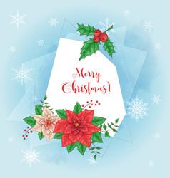 cute christmas card with poinsettia wreath vector image