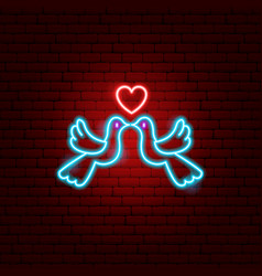 dove couple neon sign vector image