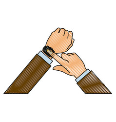 Drawing hands man business touch smart technology vector