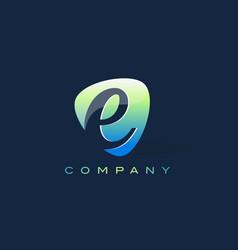 E letter logo oval shape modern design vector