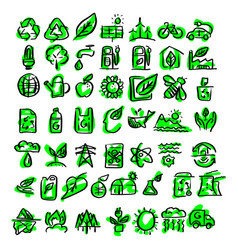 ecology icons sketch hand drawn vector image
