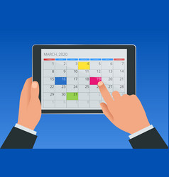 flat female hand with a tablet with a calendar vector image
