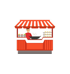 Flat street food kiosk with barbecue vector
