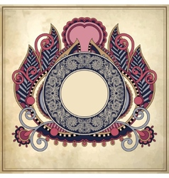 floral circle frame on grunge paper background vector image
