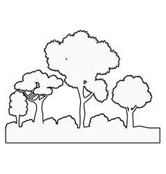 Forest tree bsuhes natural ecosystem outline vector