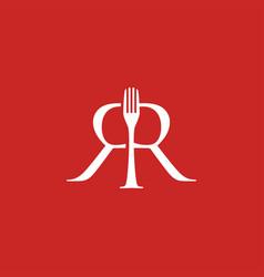 fork rr double r letter mark food restaurant vector image