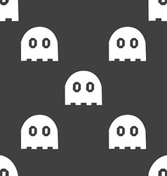 Ghost icon sign Seamless pattern on a gray vector image