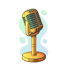 Golden retro microphone for music sound voice vector