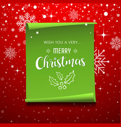 green roll paper with snowflake christmas vector image