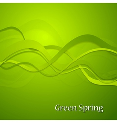 Green spring waves background vector