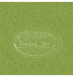 Hand drawn white silhouette herbal tea theme vector image