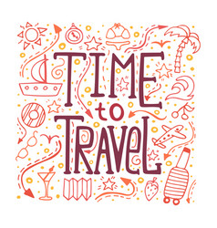 hand-written lettering time to travel vector image