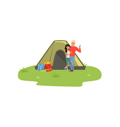 Happy couple camping in nature with fire in front vector