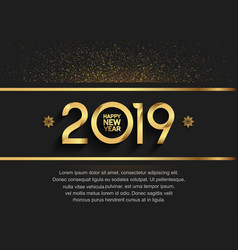Happy new year 2019 gold color with glitter vector