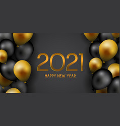 happy new year banner with gold and black balloons vector image